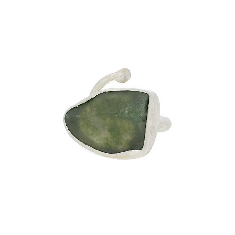 mosh agate snake silver ring | k22 jewellery design